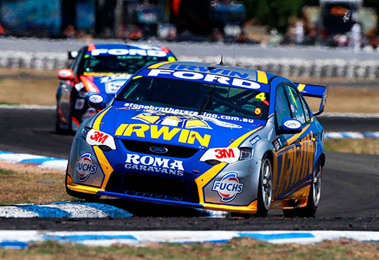 The IRWIN Ford on its way to third place at Winton