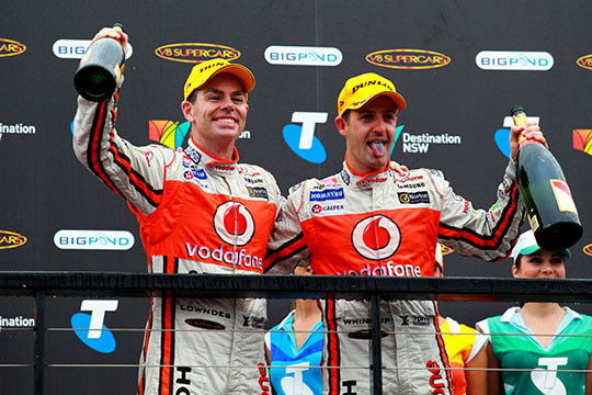 Craig Lowndes and Jamie Whincup second celebrate second consecutive 1-2 Championship finish