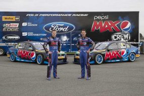 Mark Winterbottom and Wil Davison with the revised Pepsi Max Crew liveries
