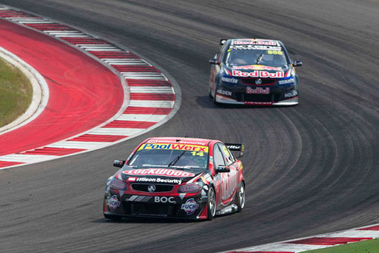 Fabian Coulthard leads race three of the Austin 400
