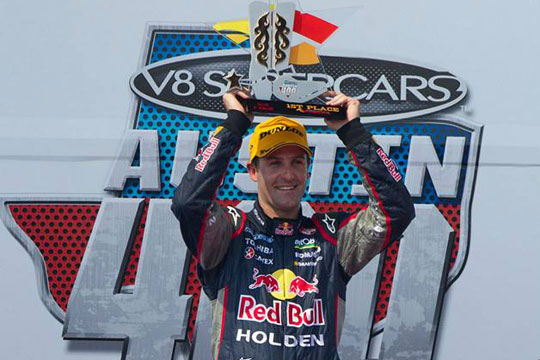 Jamie Whincup on the top step in Texas