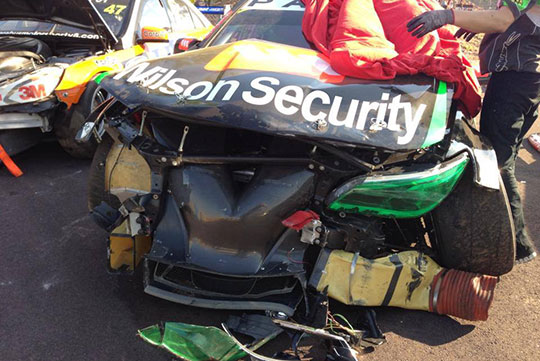 David Wall's Wilson Security Racing Commodore after the Race 19 crash in Darwin