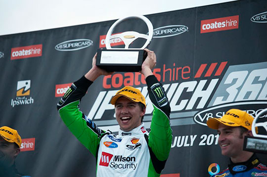 Chaz Mostert celebrates his maiden win in Ipswich