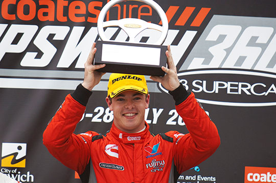 Race 24 winner Scott McLaughlin on the Ipswich podium