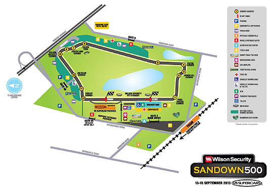 Sandown 500 Track Map