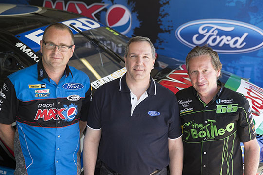 Tim Edwards with Ford president Bob Graziano and Rod Nash