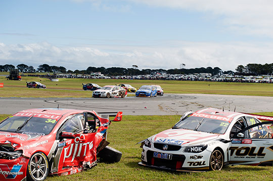 James Courtney is out of the Sydney 500 after this collision with Alexandre Prémat at Phillip Island