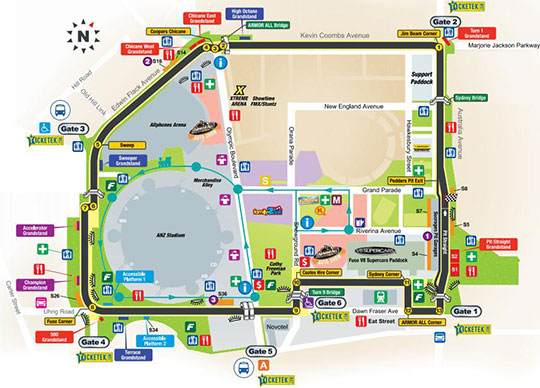 2013 Sydney 500 map