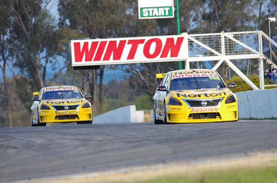 Nissan Motorsport's Norton Hornets on their way to a historic win at Winton
