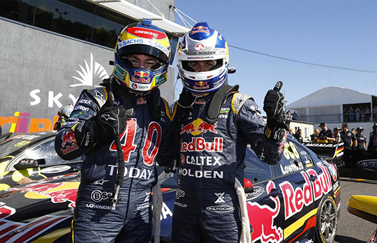 Jamie Whincup and Craig Lowndes celebrate Red Bull Racing Australia 1-2 in Darwin