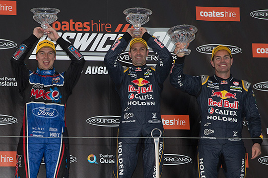 Jamie Whincup led a double one-two finish for Red Bull Racing Australia at Ipswich 400