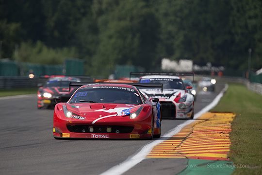 Craig Lowndes behind the wheel of the AF Corse Ferrari at the Total 24 Hours of Spa