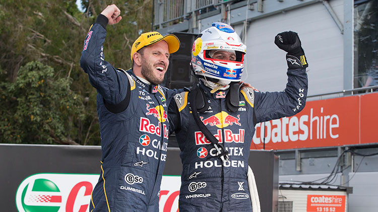 Jamie Whincup and Paul Dumbrell celebrate Gold Coast 600 win