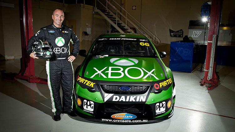 Marcos Ambrose and the XBox FG Falcon. Photo c/o Dick Johnson Racing