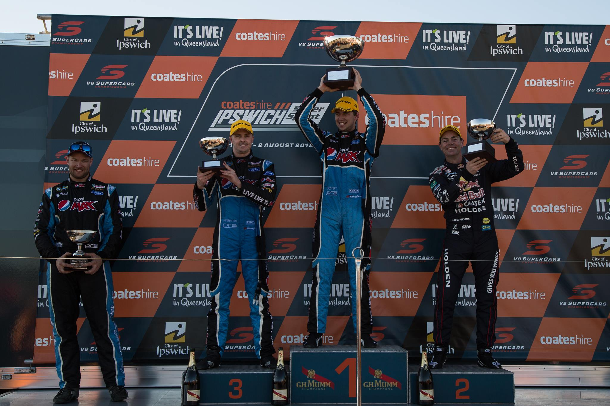 Chaz Mostert celebrates adding another first place trophy to his ever-growing collection Photo: Rhys Vandersyde
