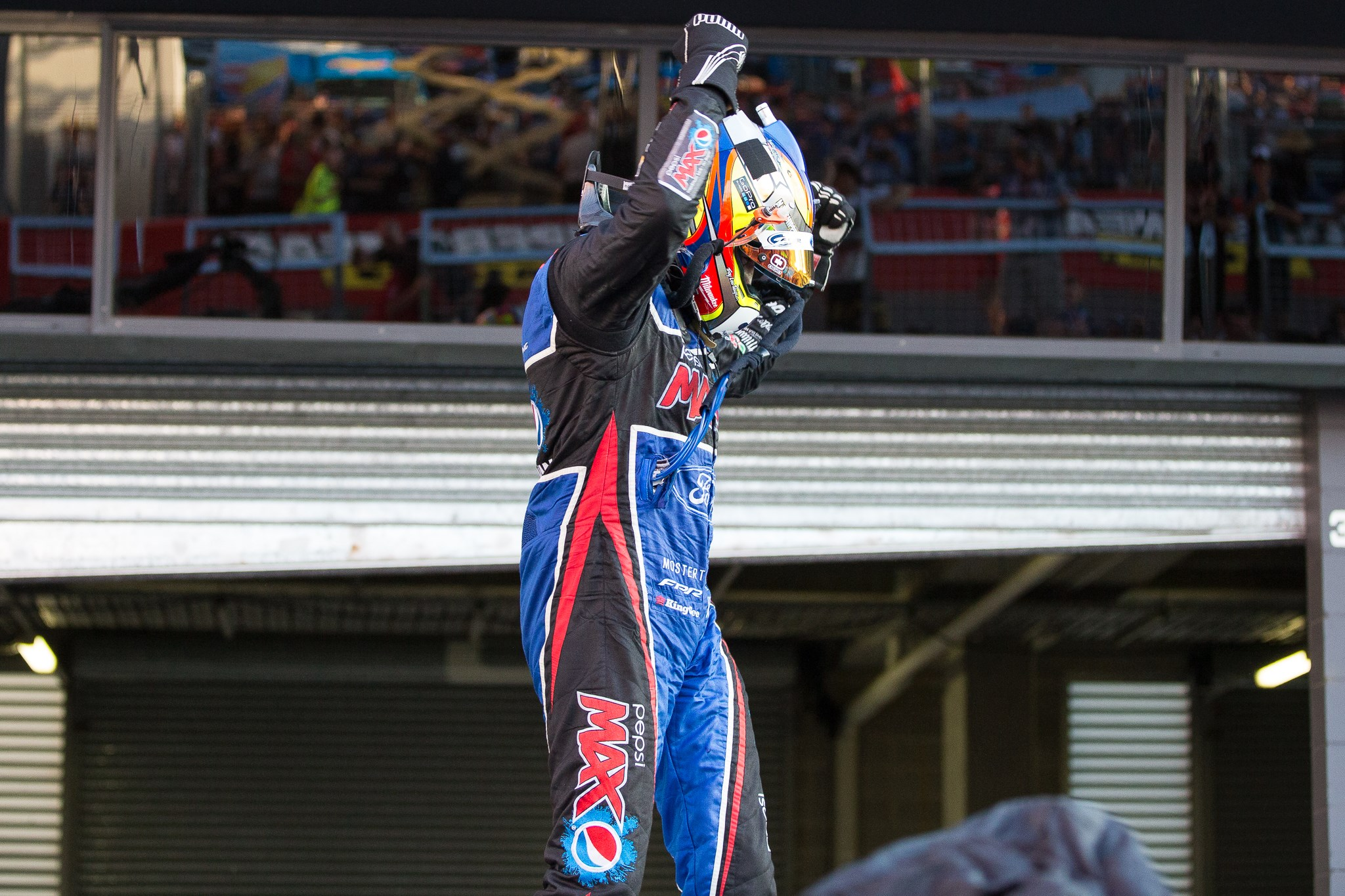 Chaz Mostert celebrating his maiden Bathurst 1000 win in 2014. Photo by Rhys Vandersyde