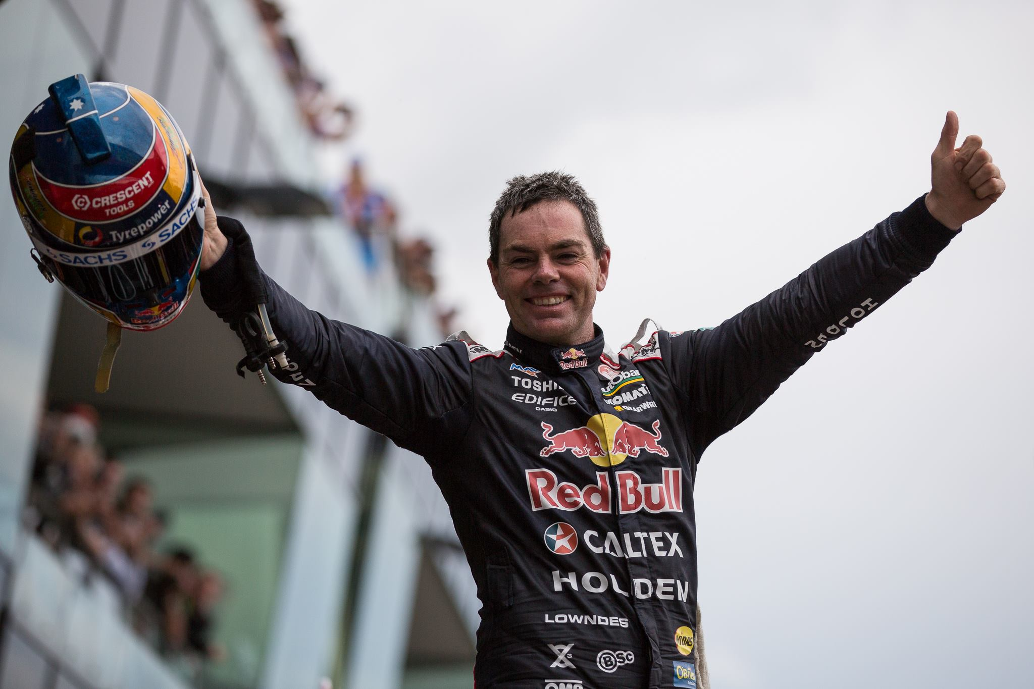 Craig Lowndes celebrating his sixth Bathurst 1000 win. Photo by Rhys Vandersyde