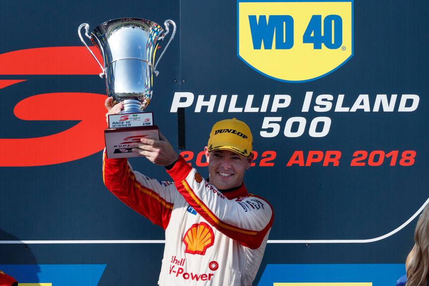 Scott McLaughlin celebrates back-to-back wins at the 2018 Phillip Island 500