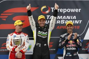 Craig Lowndes celebrates his first Supercars race win since 2016 at the 2018 Tasmania SuperSprint