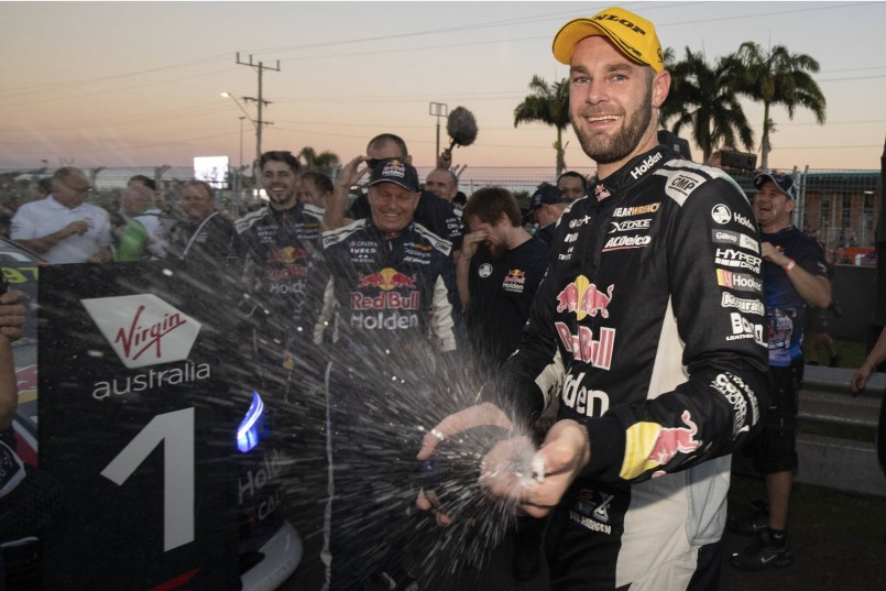 Shane van Gisbergen celebrates a vital Supercars victory at the 2018 Townsville 400